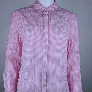 J McLaughlin XS Button Up Shirt Gingham Print